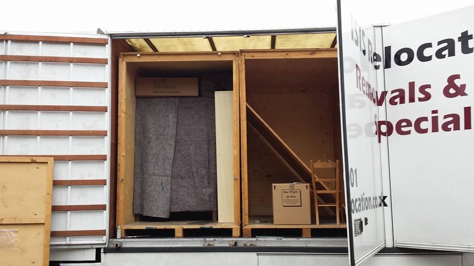 Storage unit loaded outside house